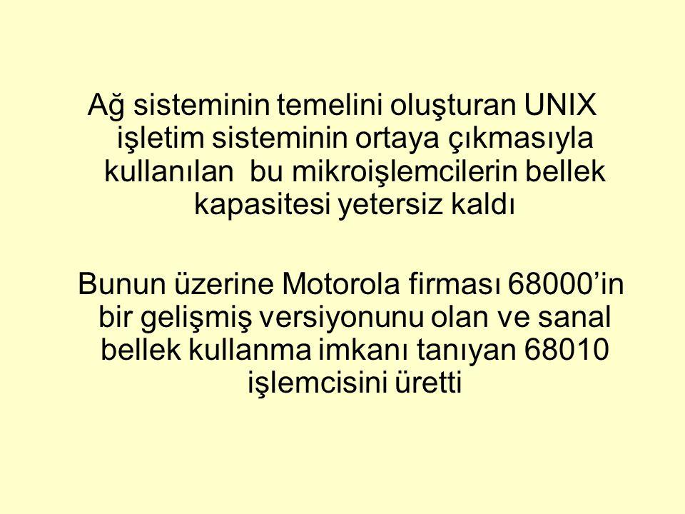 Ağ sisteminin temelini oluşturan UNIX işletim sisteminin ortaya çıkmasıyla kullanılan bu mikroişlemcilerin bellek kapasitesi yetersiz kaldı Bunun üzer