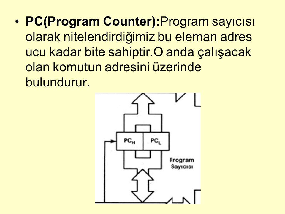 PC(Program Counter):PC(Program Counter):Program sayıcısı olarak nitelendirdiğimiz bu eleman adres ucu kadar bite sahiptir.O anda çalışacak olan komutun adresini üzerinde bulundurur.