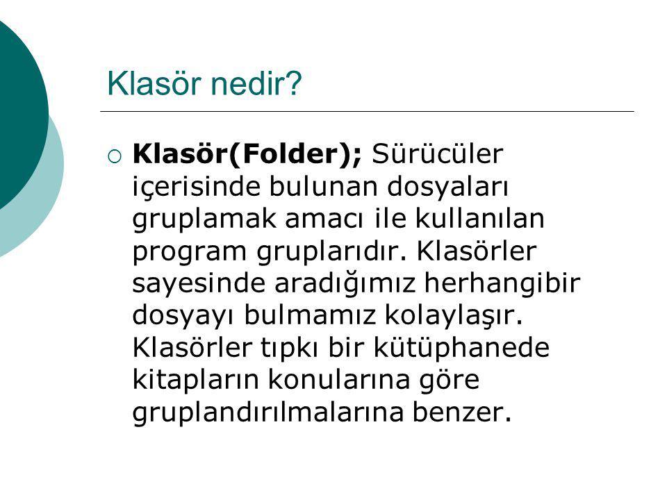 Klasör nedir?  Klasör(Folder); Sürücüler içerisinde bulunan dosyaları gruplamak amacı ile kullanılan program gruplarıdır. Klasörler sayesinde aradığı