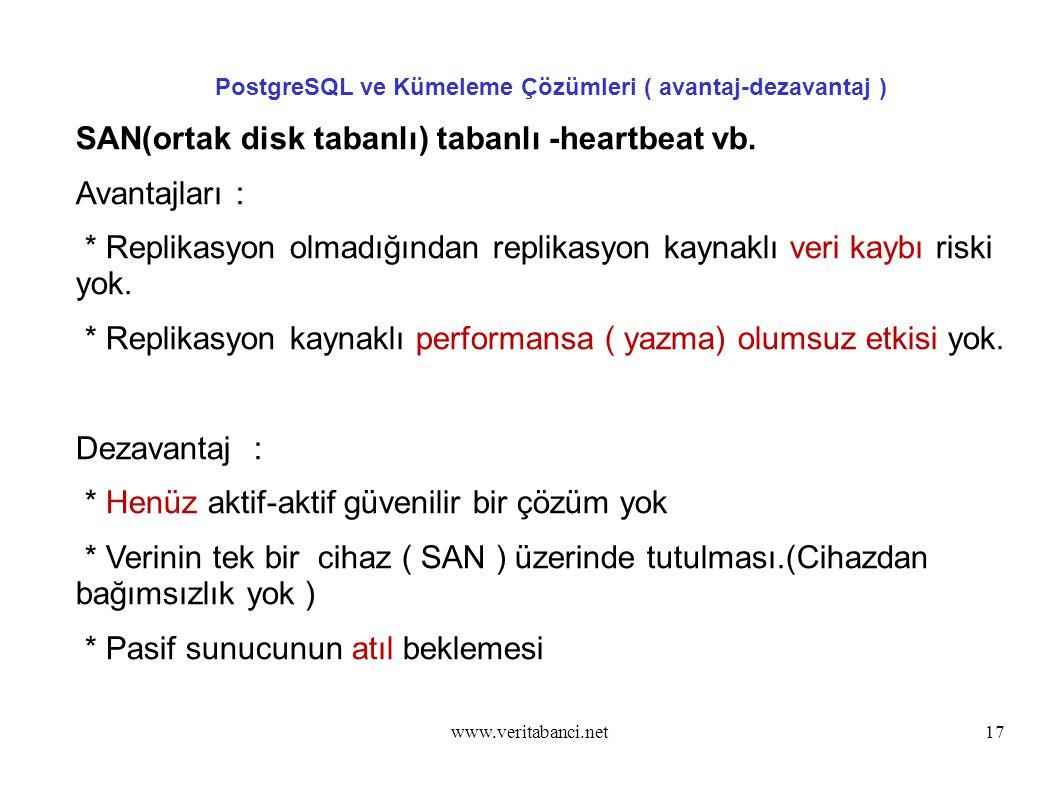 www.veritabanci.net17 PostgreSQL ve Kümeleme Çözümleri ( avantaj-dezavantaj ) SAN(ortak disk tabanlı) tabanlı -heartbeat vb.