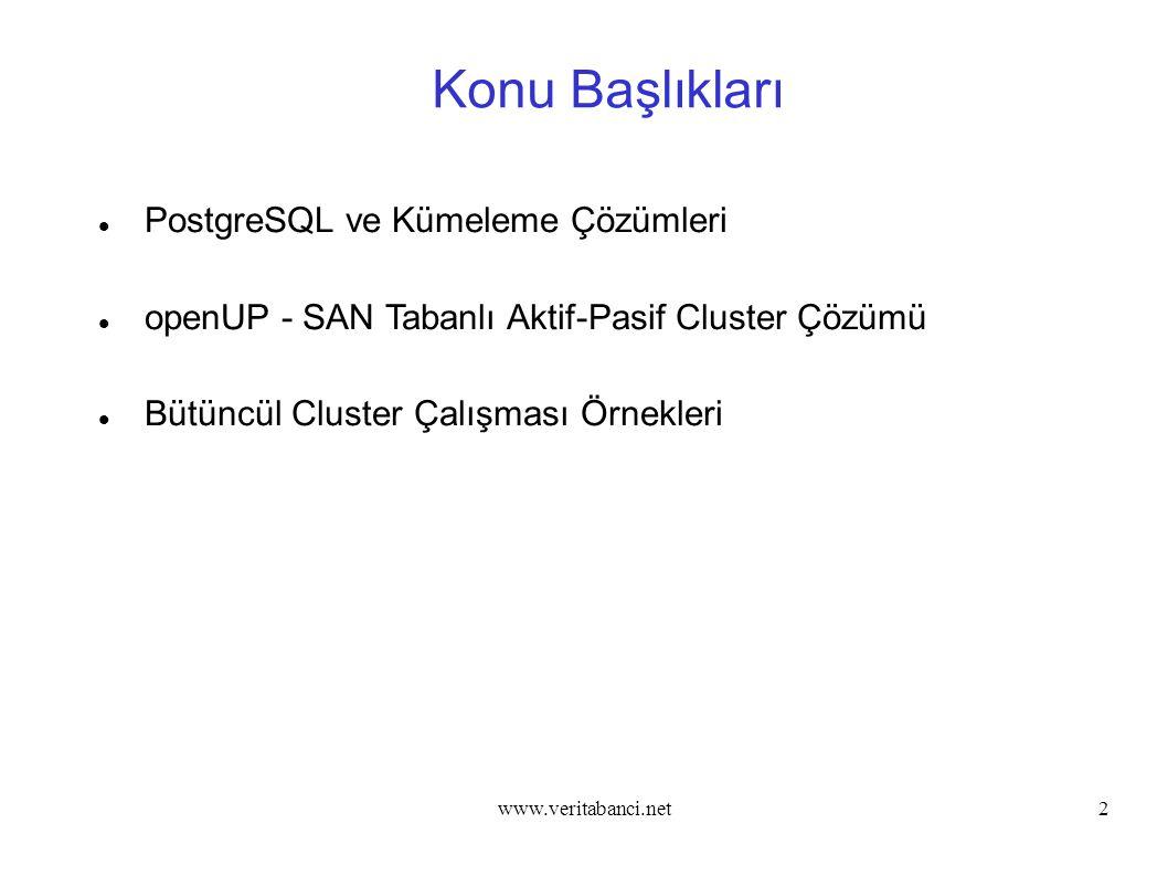 www.veritabanci.net33 openUP - SAN Tabanlı Aktif-Pasif Kümeleme Çözümü openUP Kurulum Adımları – Ön İşlemler 6 - Master sunucuda aşağıdaki komut ile san disk /pgdata dizini altına mount edilir.