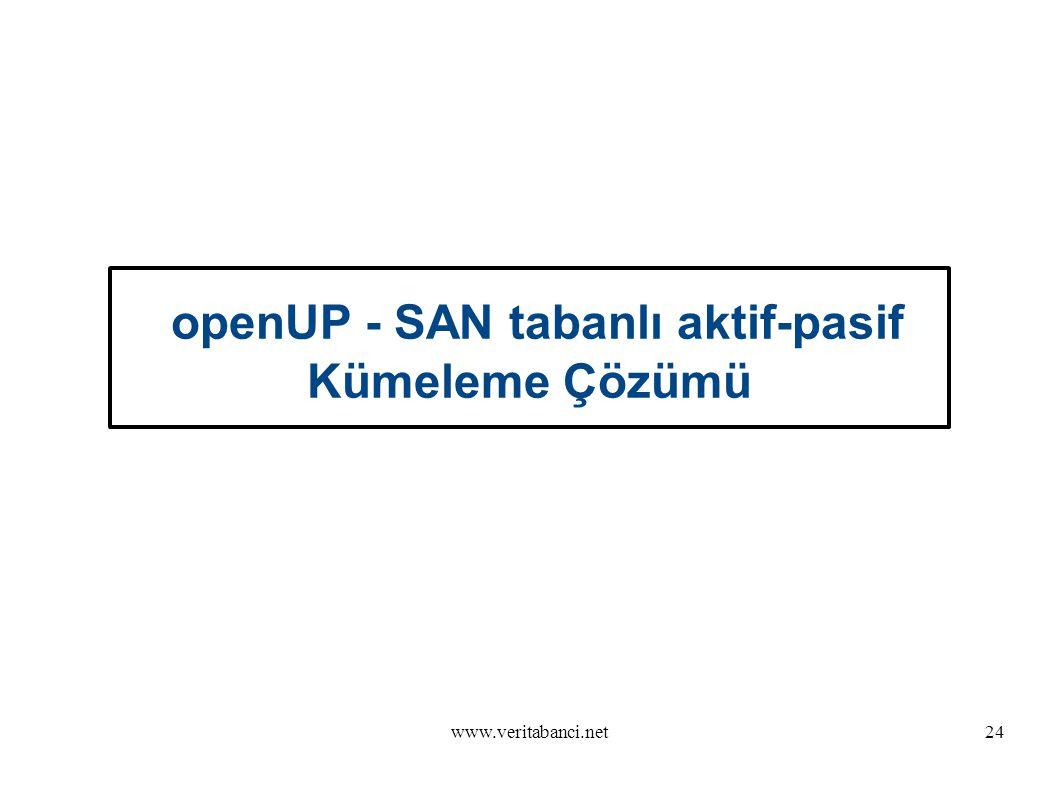 www.veritabanci.net24 openUP - SAN tabanlı aktif-pasif Kümeleme Çözümü