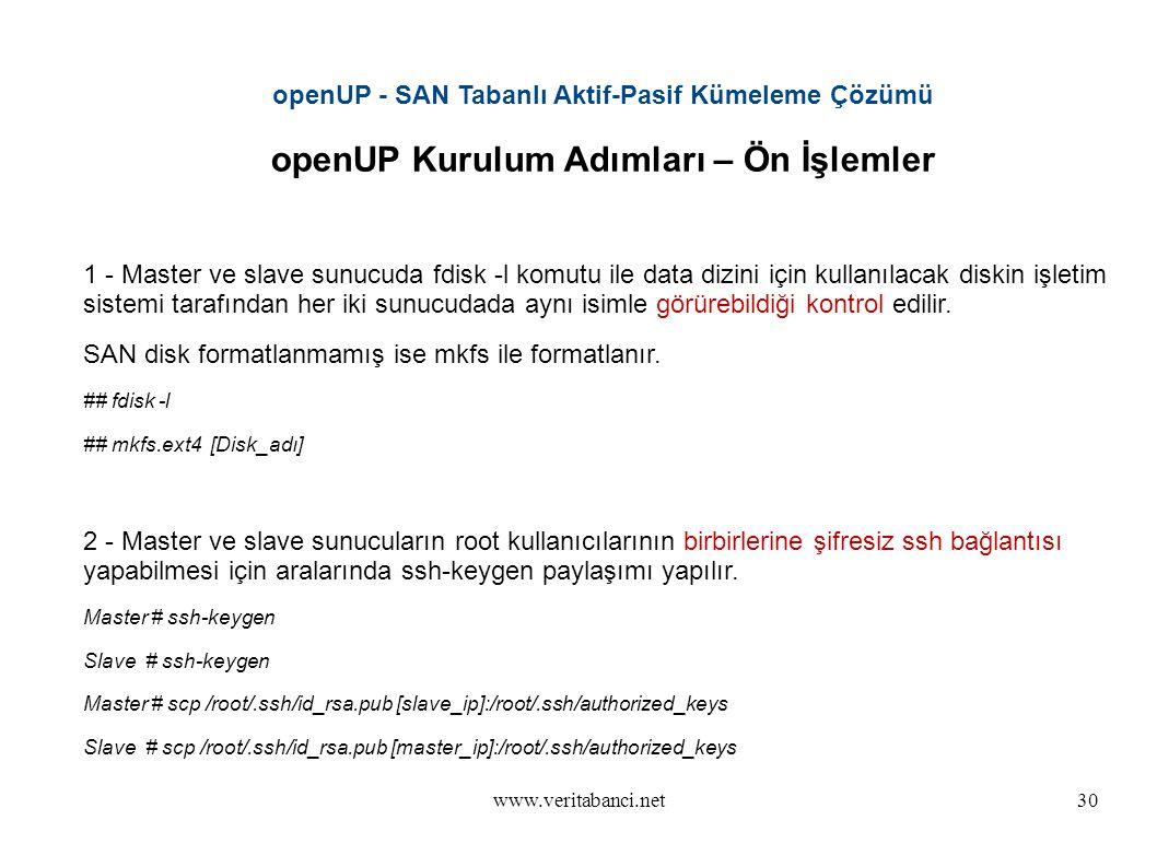 www.veritabanci.net30 openUP - SAN Tabanlı Aktif-Pasif Kümeleme Çözümü openUP Kurulum Adımları – Ön İşlemler 1 - Master ve slave sunucuda fdisk -l komutu ile data dizini için kullanılacak diskin işletim sistemi tarafından her iki sunucudada aynı isimle görürebildiği kontrol edilir.