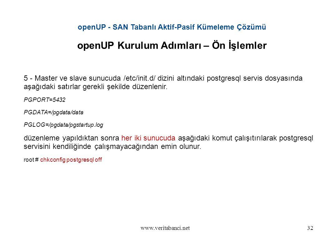 www.veritabanci.net32 openUP - SAN Tabanlı Aktif-Pasif Kümeleme Çözümü openUP Kurulum Adımları – Ön İşlemler 5 - Master ve slave sunucuda /etc/init.d/ dizini altındaki postgresql servis dosyasında aşağıdaki satırlar gerekli şekilde düzenlenir.