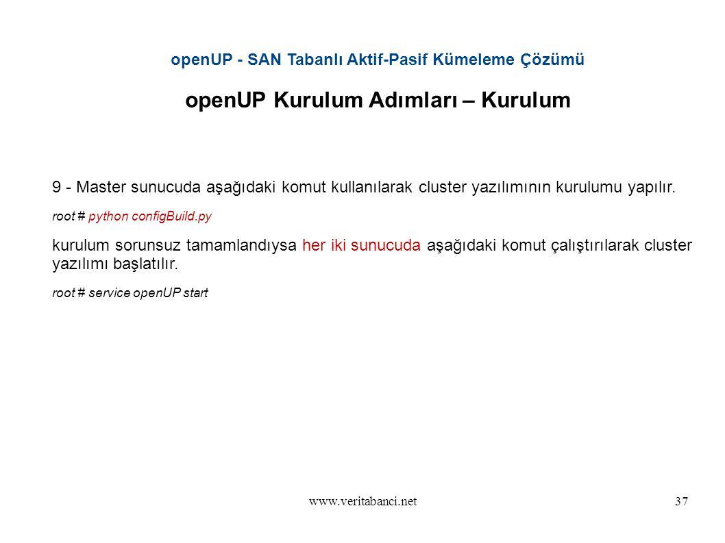www.veritabanci.net37 openUP - SAN Tabanlı Aktif-Pasif Kümeleme Çözümü openUP Kurulum Adımları – Kurulum 9 - Master sunucuda aşağıdaki komut kullanılarak cluster yazılımının kurulumu yapılır.