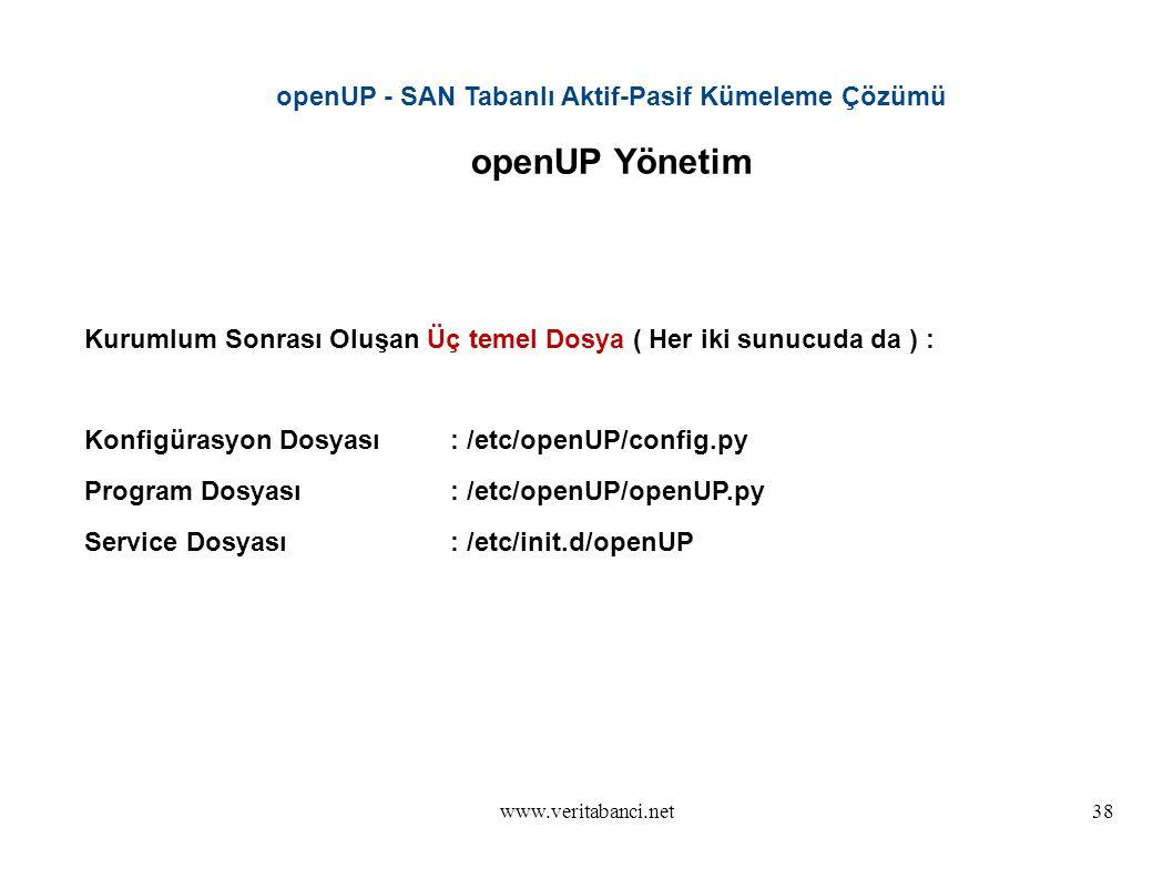 www.veritabanci.net38 openUP - SAN Tabanlı Aktif-Pasif Kümeleme Çözümü openUP Yönetim Kurumlum Sonrası Oluşan Üç temel Dosya ( Her iki sunucuda da ) : Konfigürasyon Dosyası : /etc/openUP/config.py Program Dosyası : /etc/openUP/openUP.py Service Dosyası: /etc/init.d/openUP