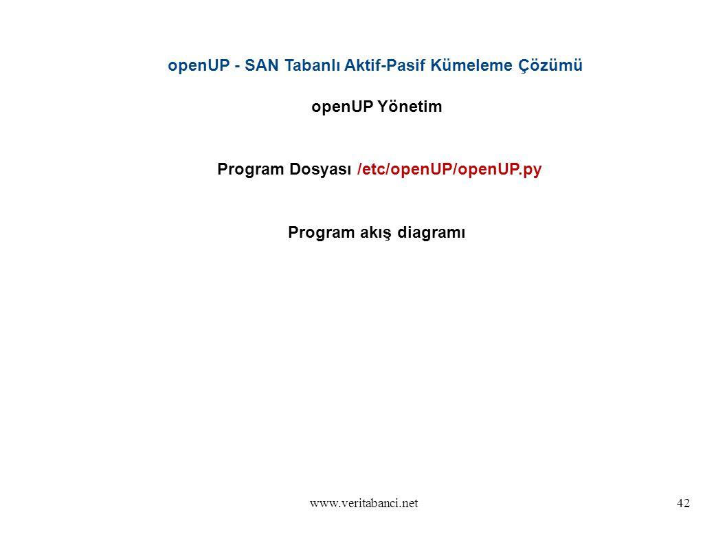 www.veritabanci.net42 openUP - SAN Tabanlı Aktif-Pasif Kümeleme Çözümü openUP Yönetim Program Dosyası /etc/openUP/openUP.py Program akış diagramı