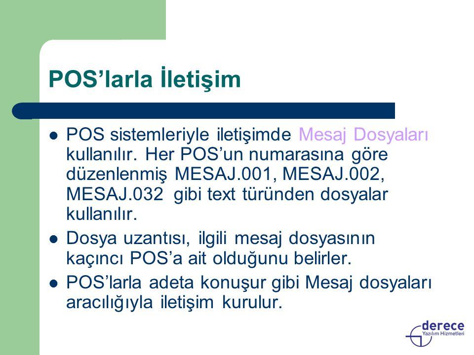 POS'larla İletişim POS sistemleriyle iletişimde Mesaj Dosyaları kullanılır. Her POS'un numarasına göre düzenlenmiş MESAJ.001, MESAJ.002, MESAJ.032 gib
