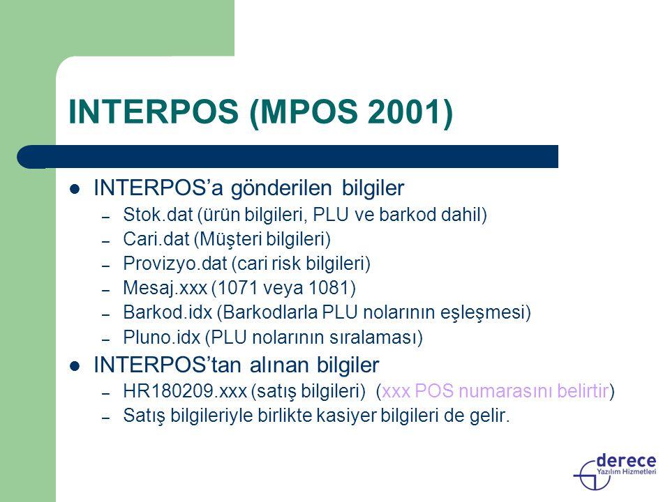 INTERPOS (MPOS 2001) INTERPOS'a gönderilen bilgiler – Stok.dat (ürün bilgileri, PLU ve barkod dahil) – Cari.dat (Müşteri bilgileri) – Provizyo.dat (ca