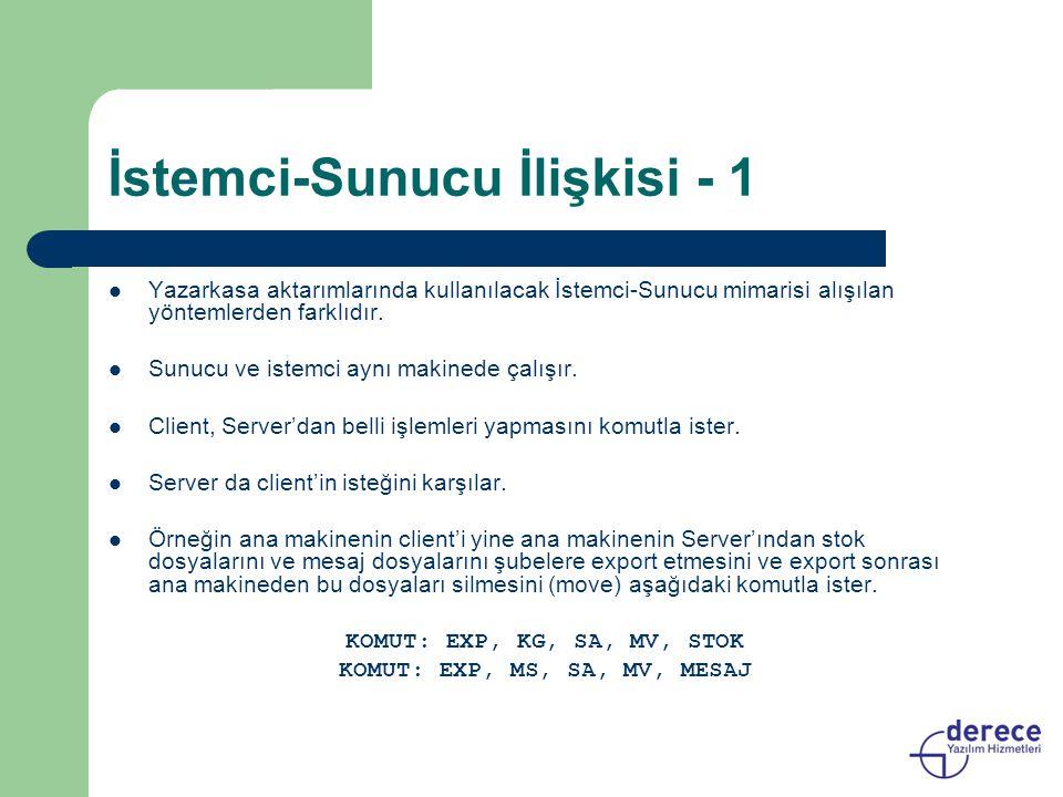 İstemci-Sunucu İlişkisi - 1 Yazarkasa aktarımlarında kullanılacak İstemci-Sunucu mimarisi alışılan yöntemlerden farklıdır. Sunucu ve istemci aynı maki