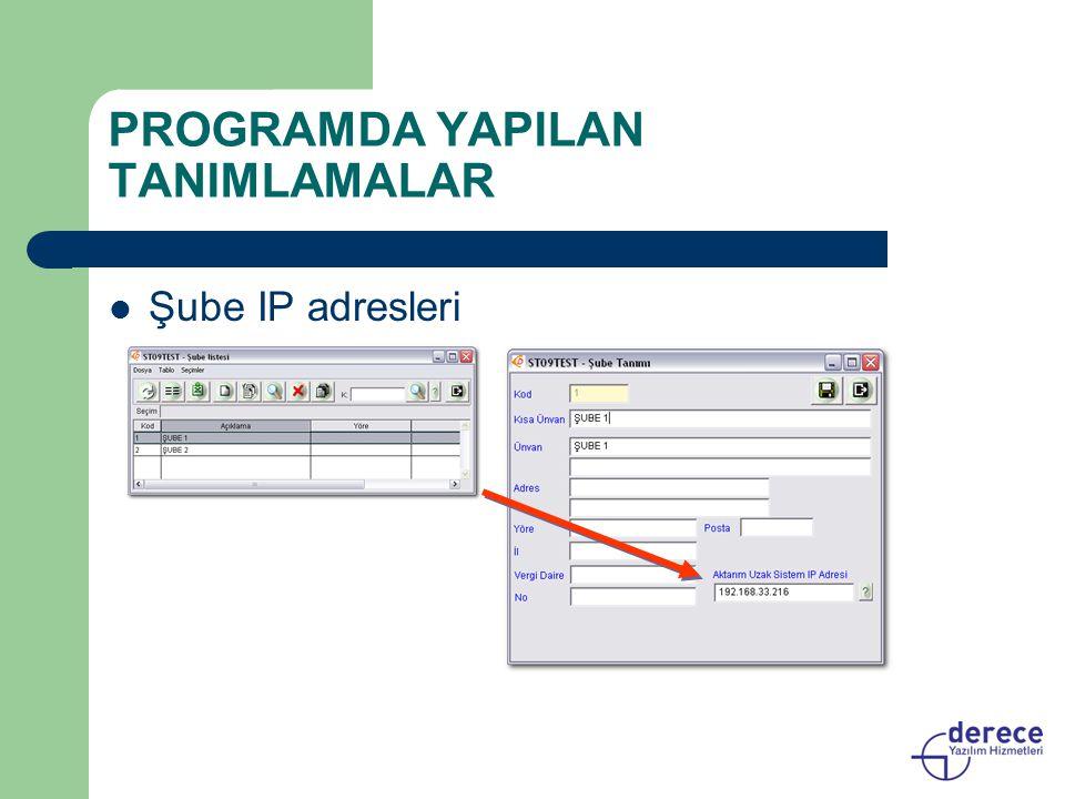 PROGRAMDA YAPILAN TANIMLAMALAR Şube IP adresleri