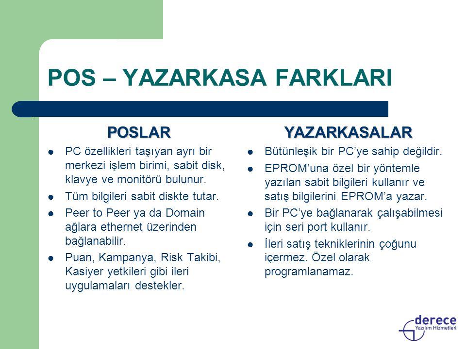 POS – YAZARKASA FARKLARI POSLAR PC özellikleri taşıyan ayrı bir merkezi işlem birimi, sabit disk, klavye ve monitörü bulunur. Tüm bilgileri sabit disk