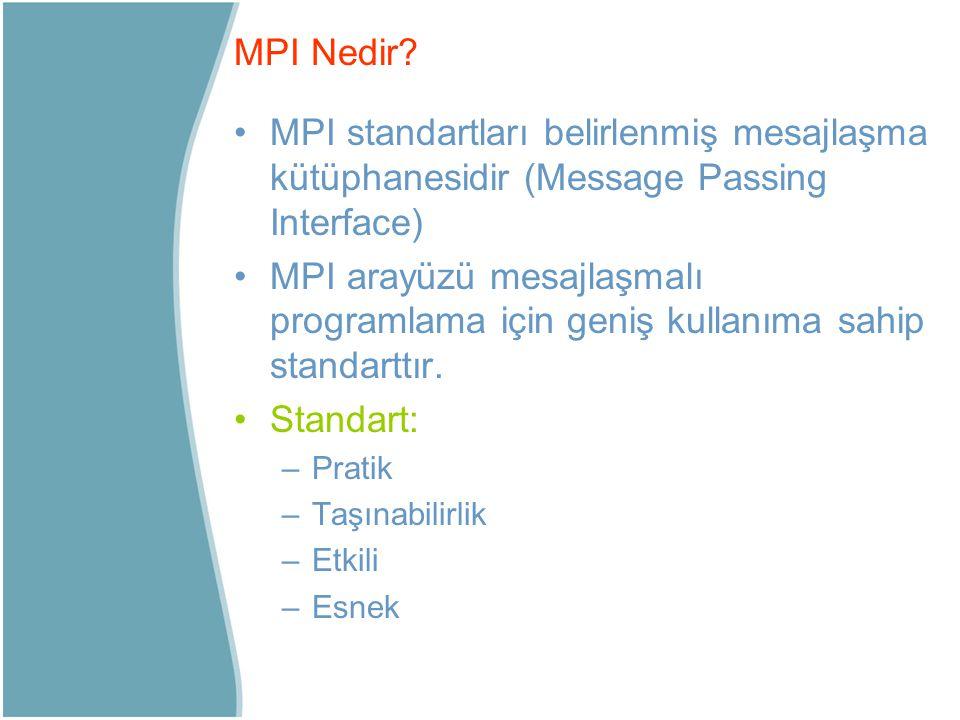 MPI standartları belirlenmiş mesajlaşma kütüphanesidir (Message Passing Interface) MPI arayüzü mesajlaşmalı programlama için geniş kullanıma sahip sta