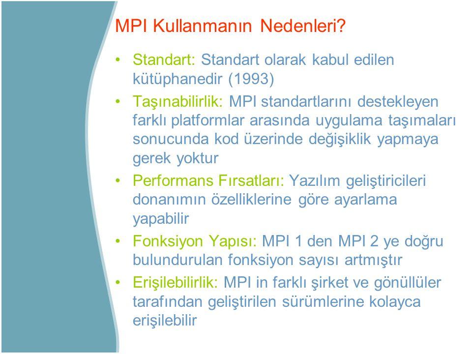 Standart: Standart olarak kabul edilen kütüphanedir (1993) Taşınabilirlik: MPI standartlarını destekleyen farklı platformlar arasında uygulama taşımal