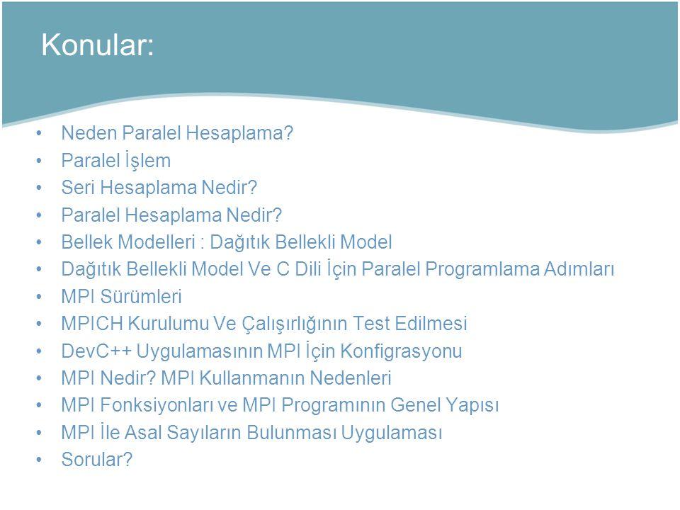 Neden Paralel Hesaplama? Paralel İşlem Seri Hesaplama Nedir? Paralel Hesaplama Nedir? Bellek Modelleri : Dağıtık Bellekli Model Dağıtık Bellekli Model