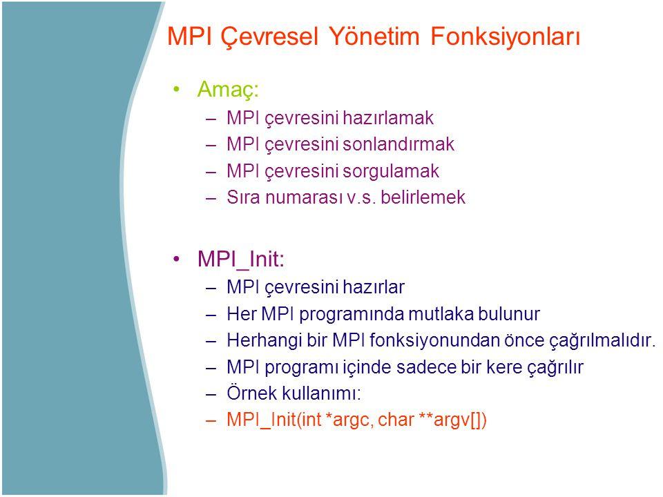 Amaç: –MPI çevresini hazırlamak –MPI çevresini sonlandırmak –MPI çevresini sorgulamak –Sıra numarası v.s. belirlemek MPI_Init: –MPI çevresini hazırlar