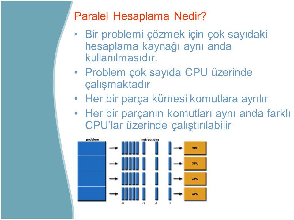 Bir problemi çözmek için çok sayıdaki hesaplama kaynağı aynı anda kullanılmasıdır. Problem çok sayıda CPU üzerinde çalışmaktadır Her bir parça kümesi