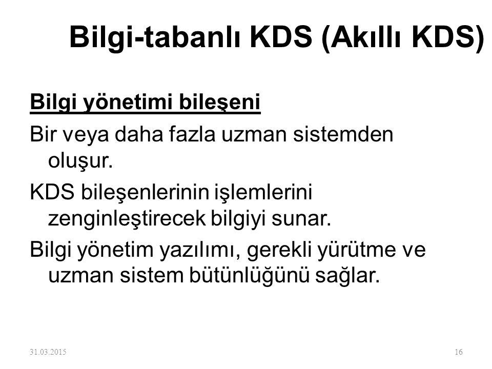 Bilgi-tabanlı KDS (Akıllı KDS) Bilgi yönetimi bileşeni Bir veya daha fazla uzman sistemden oluşur. KDS bileşenlerinin işlemlerini zenginleştirecek bil
