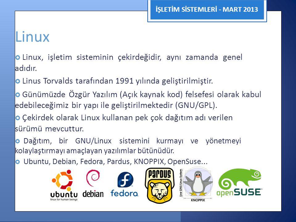 İŞLETİM SİSTEMLERİ - MART 2013 Linux  Linux, işletim sisteminin çekirdeğidir, aynı zamanda genel adıdır.  Linus Torvalds tarafından 1991 yılında gel