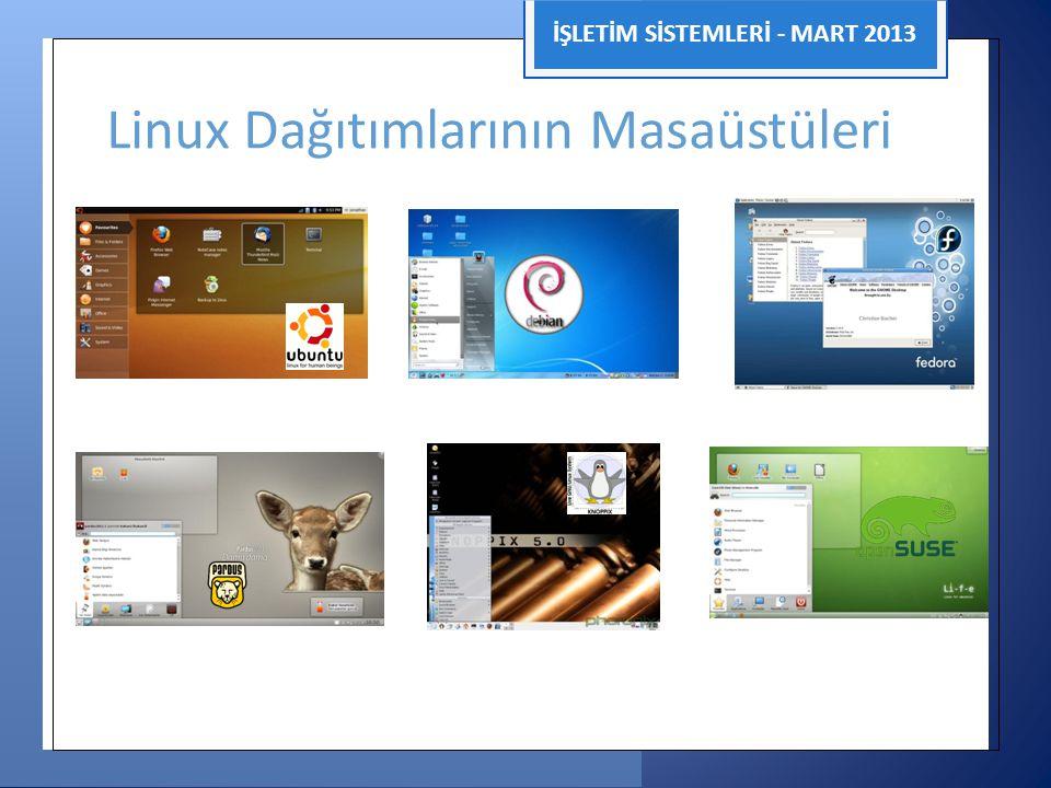 İŞLETİM SİSTEMLERİ - MART 2013 Linux Dağıtımlarının Masaüstüleri