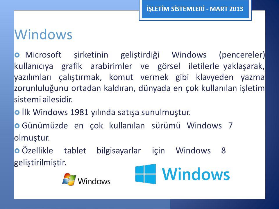 İŞLETİM SİSTEMLERİ - MART 2013 Windows  Microsoft şirketinin geliştirdiği Windows (pencereler) kullanıcıya grafik arabirimler ve görsel iletilerle ya