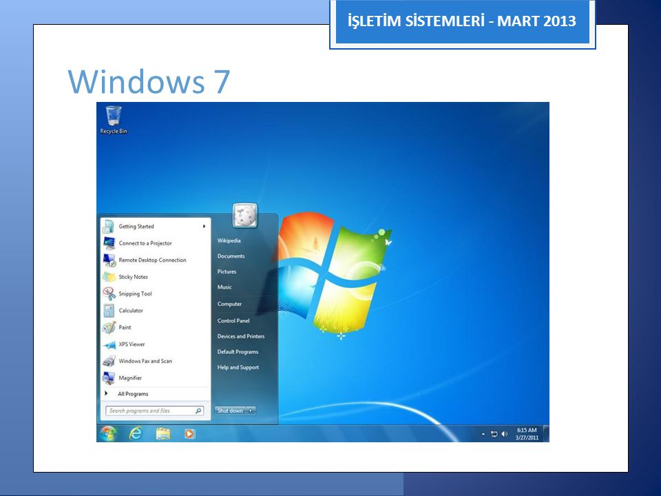 İŞLETİM SİSTEMLERİ - MART 2013 Windows 7