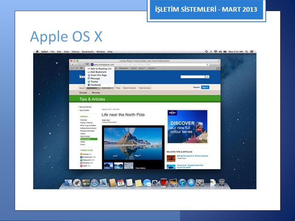 İŞLETİM SİSTEMLERİ - MART 2013 Apple OS X