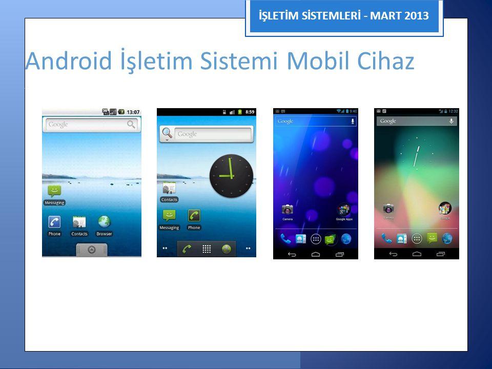 İŞLETİM SİSTEMLERİ - MART 2013 Android İşletim Sistemi Mobil Cihaz 2.0 2.3 4.0 4.1