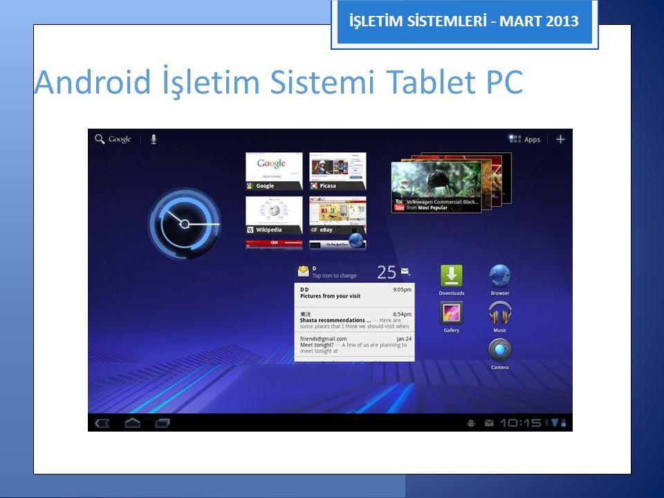 İŞLETİM SİSTEMLERİ - MART 2013 Android İşletim Sistemi Tablet PC 4.0