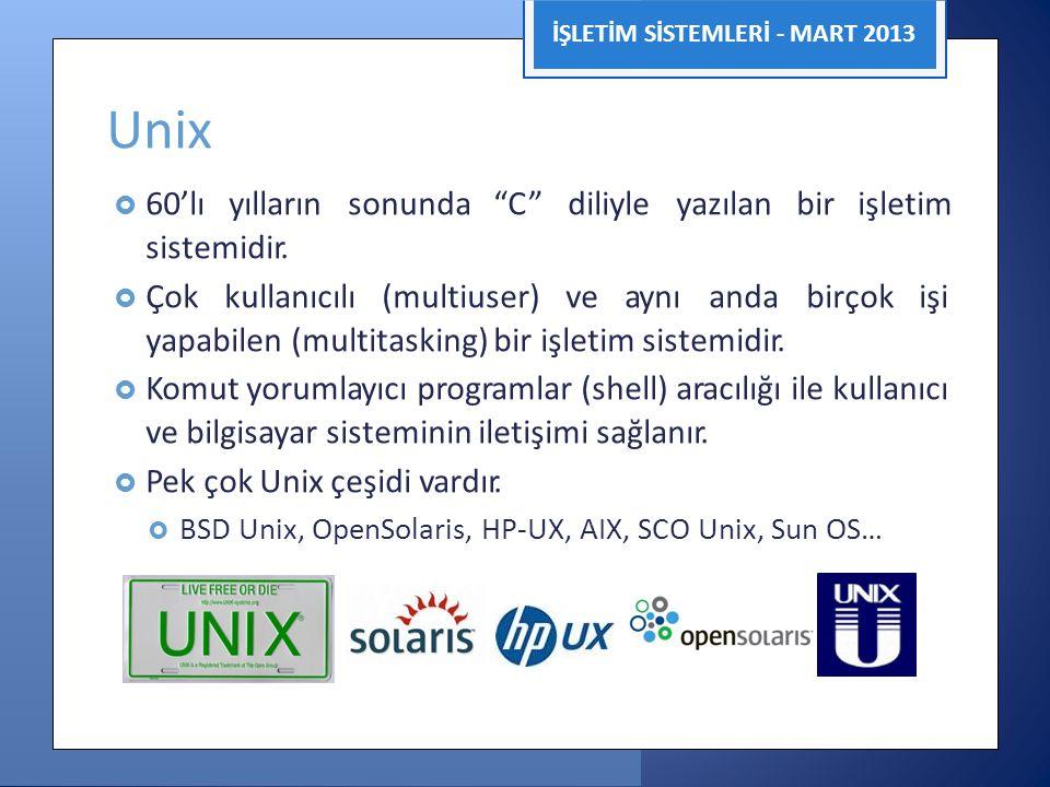 """İŞLETİM SİSTEMLERİ - MART 2013 Unix  60'lı yılların sonunda """"C"""" diliyle yazılan bir işletim sistemidir.  Çok kullanıcılı (multiuser) ve aynı anda bi"""