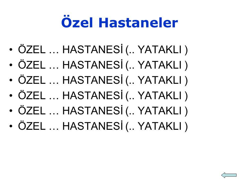 Özel Hastaneler ÖZEL … HASTANESİ (.. YATAKLI )