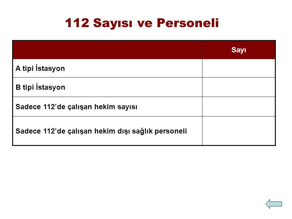 112 Sayısı ve Personeli Sayı A tipi İstasyon B tipi İstasyon Sadece 112'de çalışan hekim sayısı Sadece 112'de çalışan hekim dışı sağlık personeli
