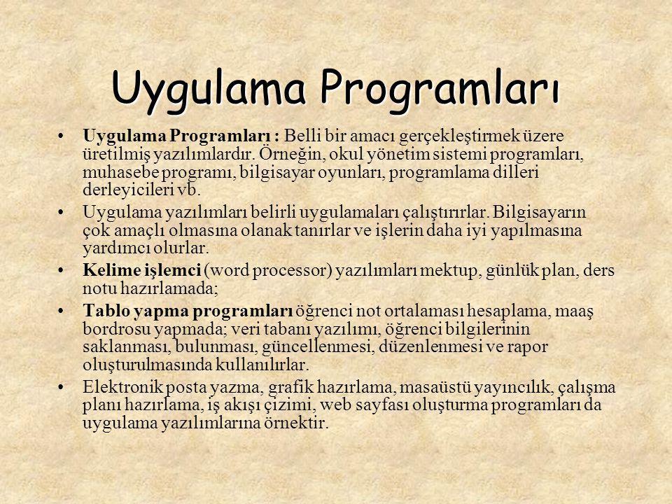 Ticari yazılımlar Ticari yazılımlar: Muhasebe, tahmin yapma, proje yönetiminde kullanılırlar.