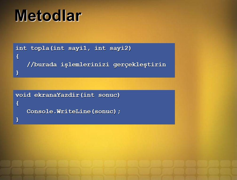 Metodlar int topla(int sayi1, int sayi2) { //burada işlemlerinizi gerçekleştirin //burada işlemlerinizi gerçekleştirin} void ekranaYazdir(int sonuc) { Console.WriteLine(sonuc); Console.WriteLine(sonuc);}