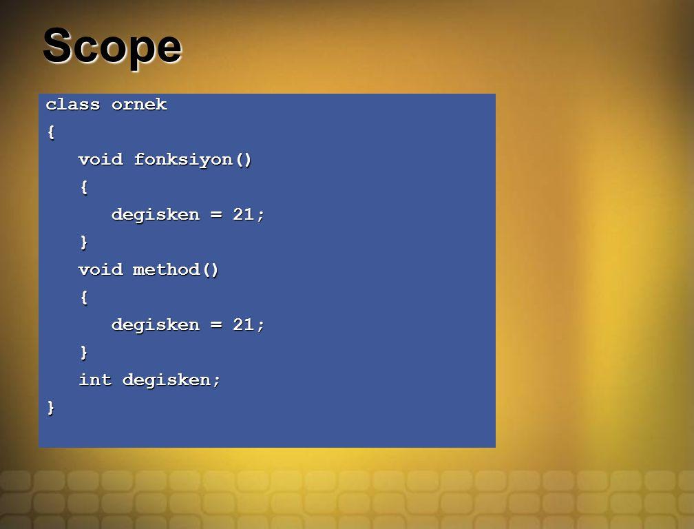 Scope class ornek { void fonksiyon() void fonksiyon() { degisken = 21; degisken = 21; } void method() void method() { degisken = 21; degisken = 21; }