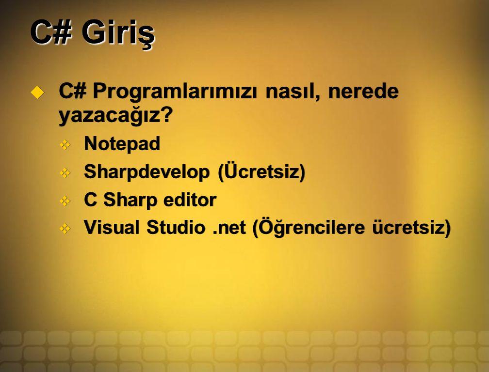 C# Giriş  C# Programlarımızı nasıl, nerede yazacağız.
