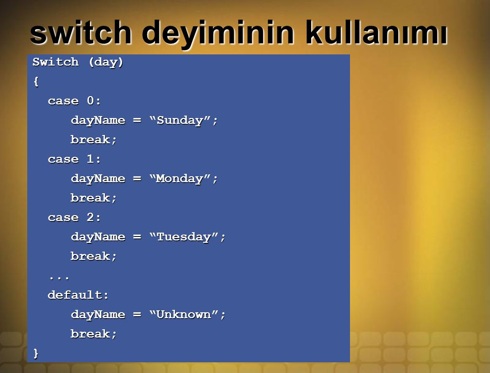 "switch deyiminin kullanımı Switch (day) { case 0: case 0: dayName = ""Sunday""; dayName = ""Sunday""; break; break; case 1: case 1: dayName = ""Monday""; da"