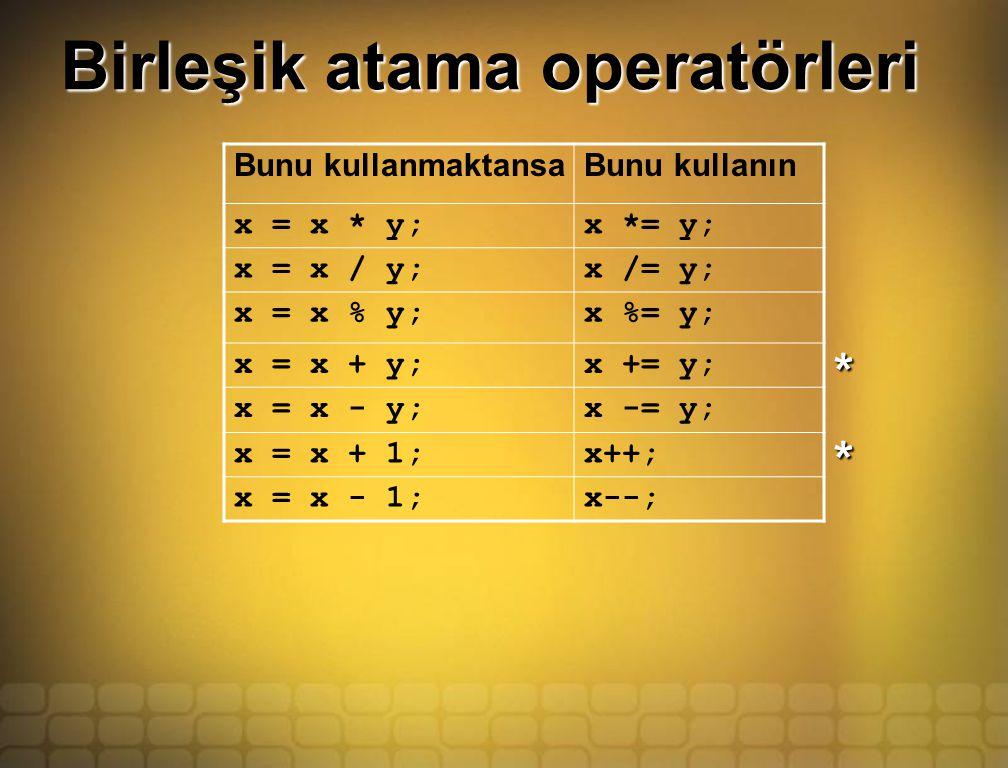 Birleşik atama operatörleri Bunu kullanmaktansaBunu kullanın x = x * y;x *= y; x = x / y;x /= y; x = x % y;x %= y; x = x + y;x += y; x = x - y;x -= y; x = x + 1;x++; x = x - 1;x--; * *