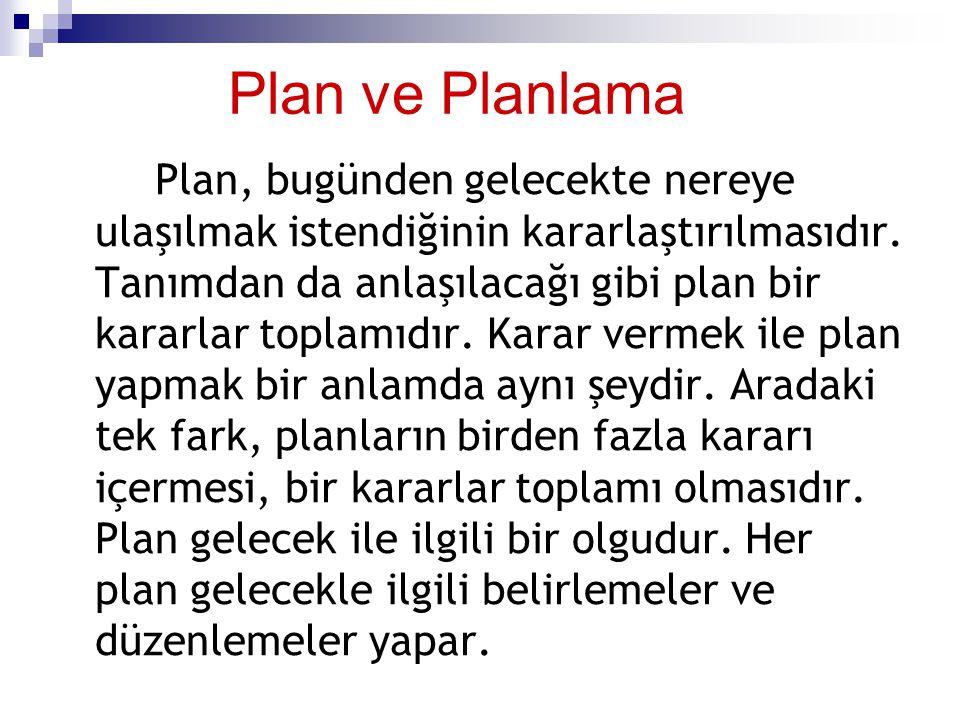 Plan ve Planlama Plan, bugünden gelecekte nereye ulaşılmak istendiğinin kararlaştırılmasıdır. Tanımdan da anlaşılacağı gibi plan bir kararlar toplamıd