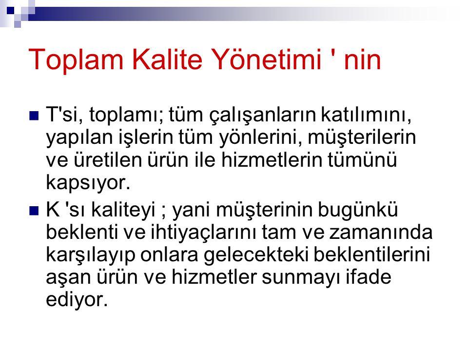 Toplam Kalite Yönetimi ' nin T'si, toplamı; tüm çalışanların katılımını, yapılan işlerin tüm yönlerini, müşterilerin ve üretilen ürün ile hizmetlerin