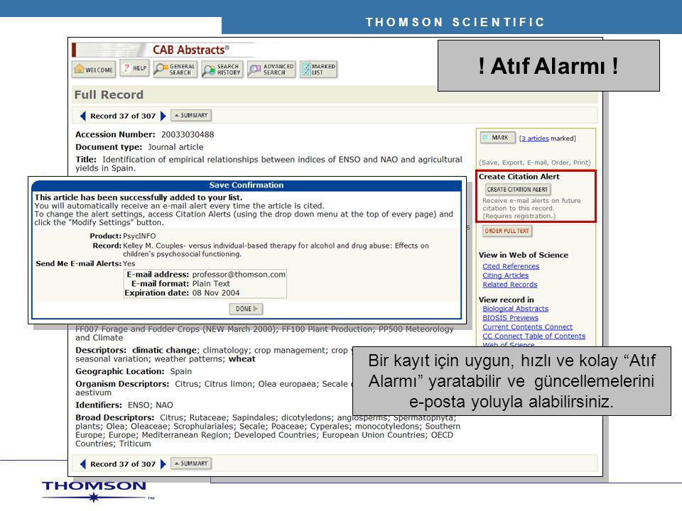 """! Atıf Alarmı ! Bir kayıt için uygun, hızlı ve kolay """"Atıf Alarmı"""" yaratabilir ve güncellemelerini e-posta yoluyla alabilirsiniz."""