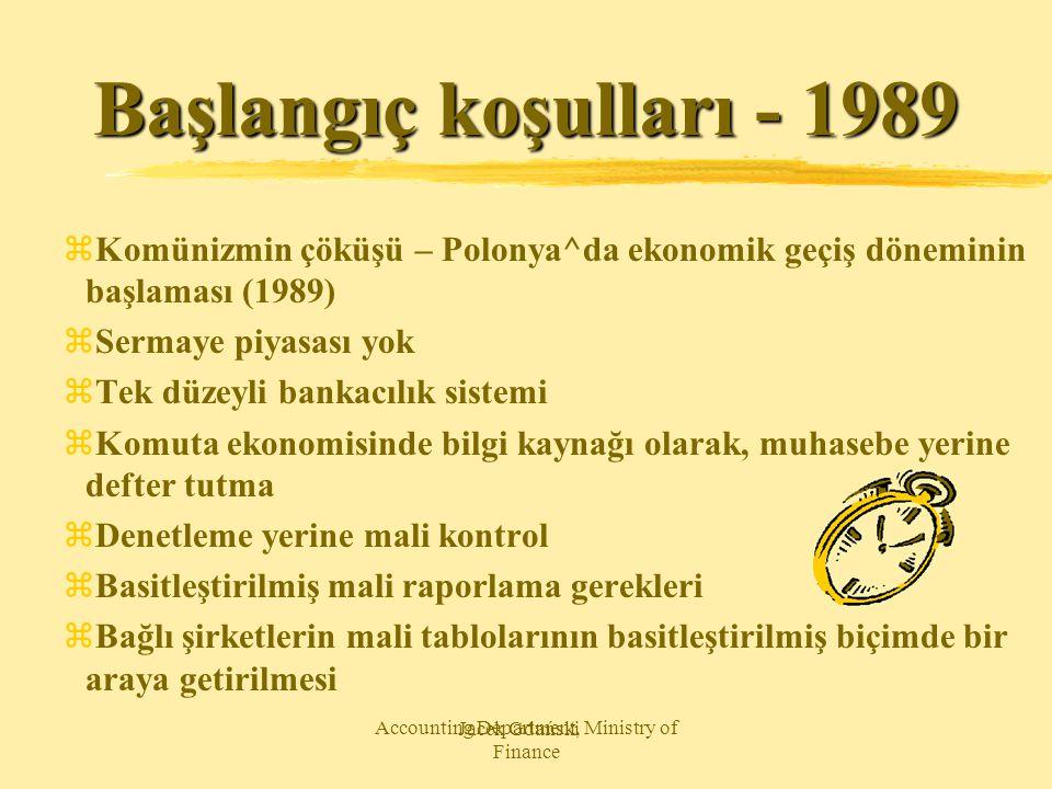 Jacek Gdański Accounting Department, Ministry of Finance Başlangıç koşulları - 1989 zKomünizmin çöküşü – Polonya^da ekonomik geçiş döneminin başlaması