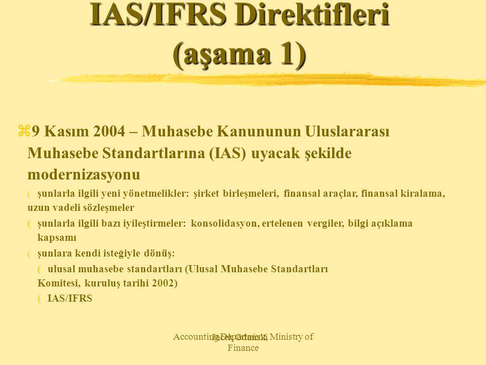 Jacek Gdański Accounting Department, Ministry of Finance IAS/IFRS Direktifleri (aşama 1) z9 Kasım 2004 – Muhasebe Kanununun Uluslararası Muhasebe Stan