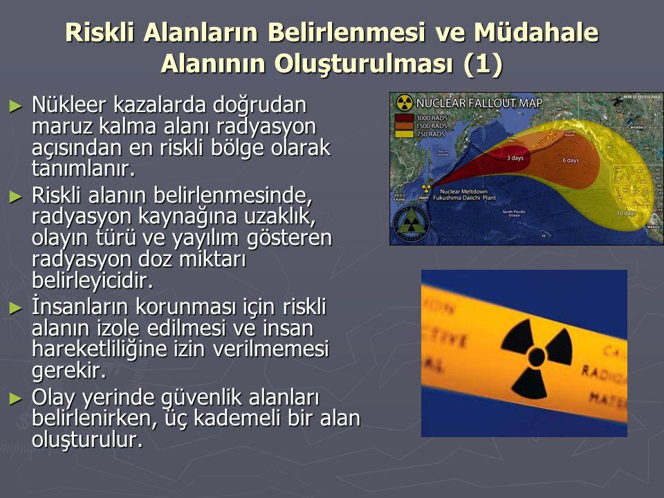 Riskli Alanların Belirlenmesi ve Müdahale Alanının Oluşturulması (1) ► Nükleer kazalarda doğrudan maruz kalma alanı radyasyon açısından en riskli bölg