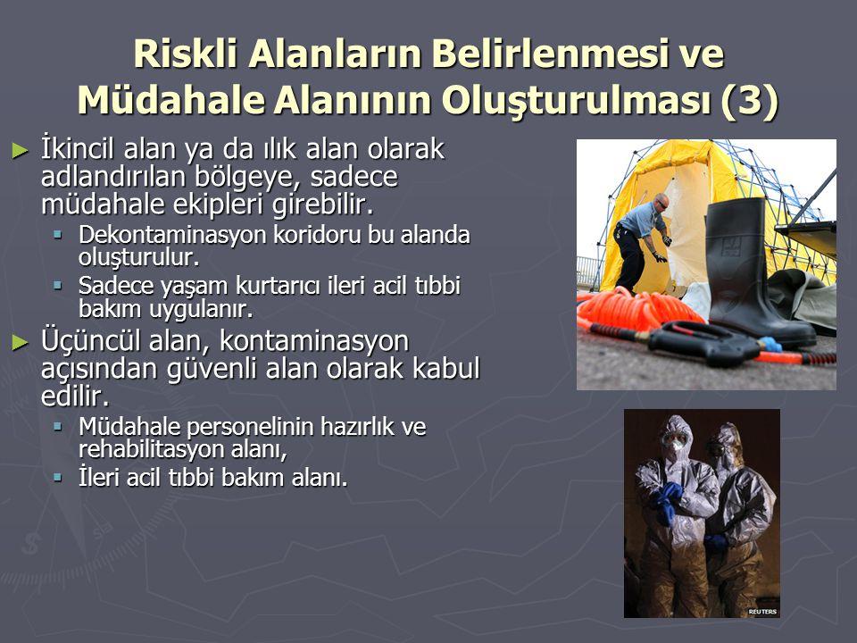 Riskli Alanların Belirlenmesi ve Müdahale Alanının Oluşturulması (3) ► İkincil alan ya da ılık alan olarak adlandırılan bölgeye, sadece müdahale ekipl