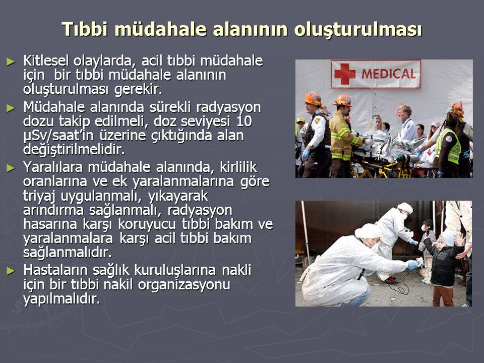 Tıbbi müdahale alanının oluşturulması ► Kitlesel olaylarda, acil tıbbi müdahale için bir tıbbi müdahale alanının oluşturulması gerekir. ► Müdahale ala