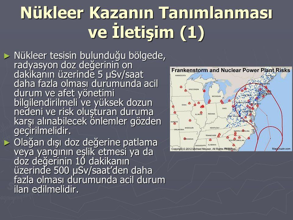 Nükleer Kazanın Tanımlanması ve İletişim (1) ► Nükleer tesisin bulunduğu bölgede, radyasyon doz değerinin on dakikanın üzerinde 5 μSv/saat daha fazla