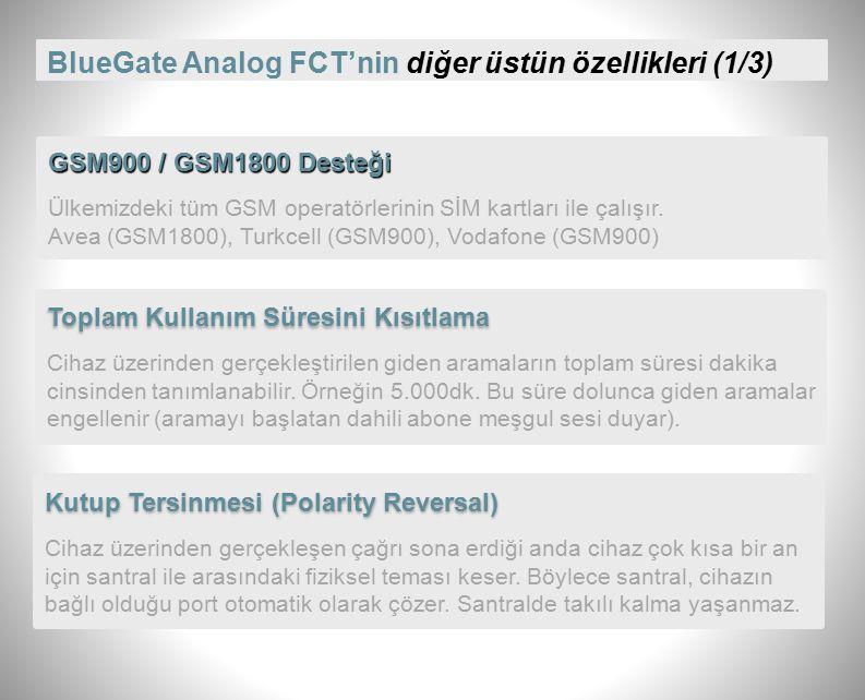 BlueGate Analog FCT'de Ücretlendirme Darbesi Üretimi PBX Dahili Hat Analog Harici Port GSM Çağrı kurulduğu andan itibaren, FCT'den santrale 12kHz.'lik Ücretlendirme Darbeleri gönderilir.