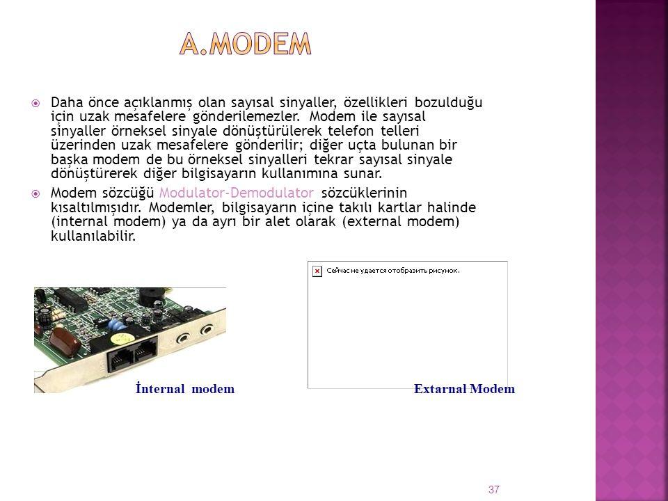  Daha önce açıklanmış olan sayısal sinyaller, özellikleri bozulduğu için uzak mesafelere gönderilemezler. Modem ile sayısal sinyaller örneksel sinyal