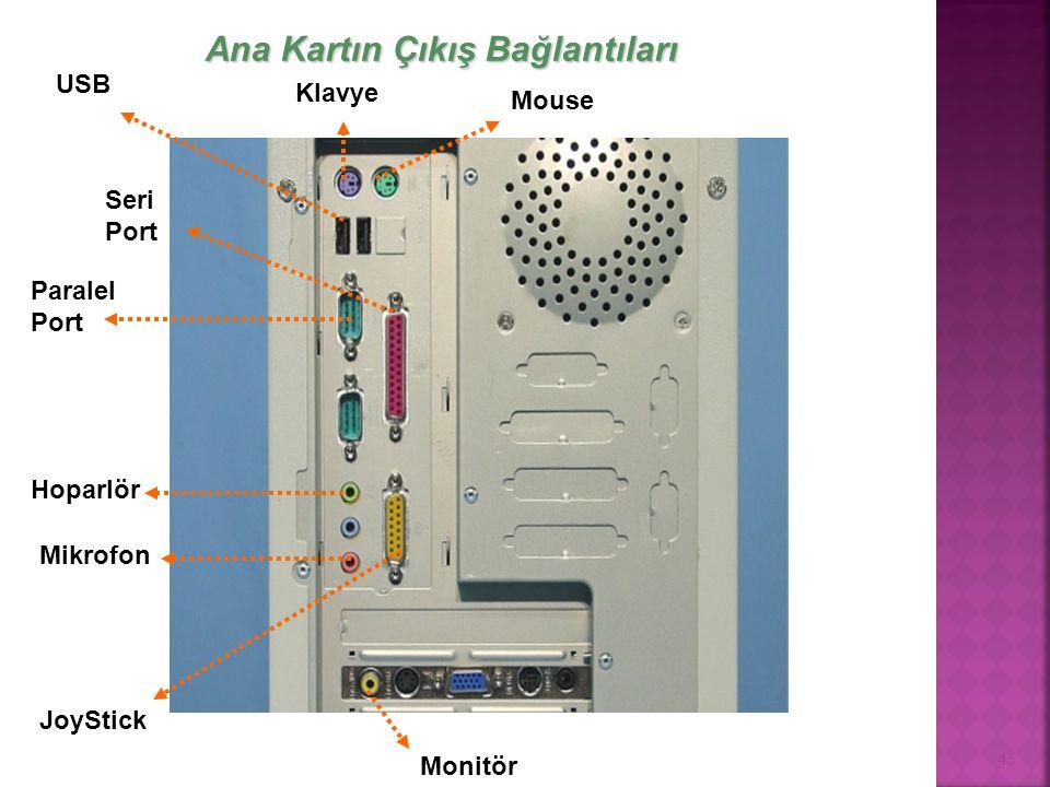 45 Klavye Mouse USB Seri Port Paralel Port Hoparlör Monitör Mikrofon JoyStick Ana Kartın Çıkış Bağlantıları